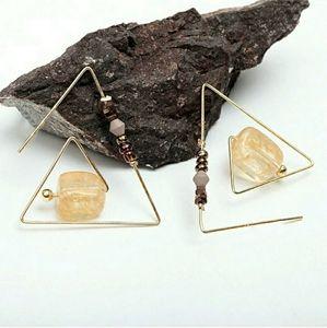 Triangle Threader Earrings Gold